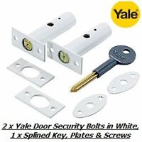 2 x YALE DOOR SECURITY BOLTS, RACK BOLTS WHITE FINISH WITH 1 x SPLINED KEY - NEW