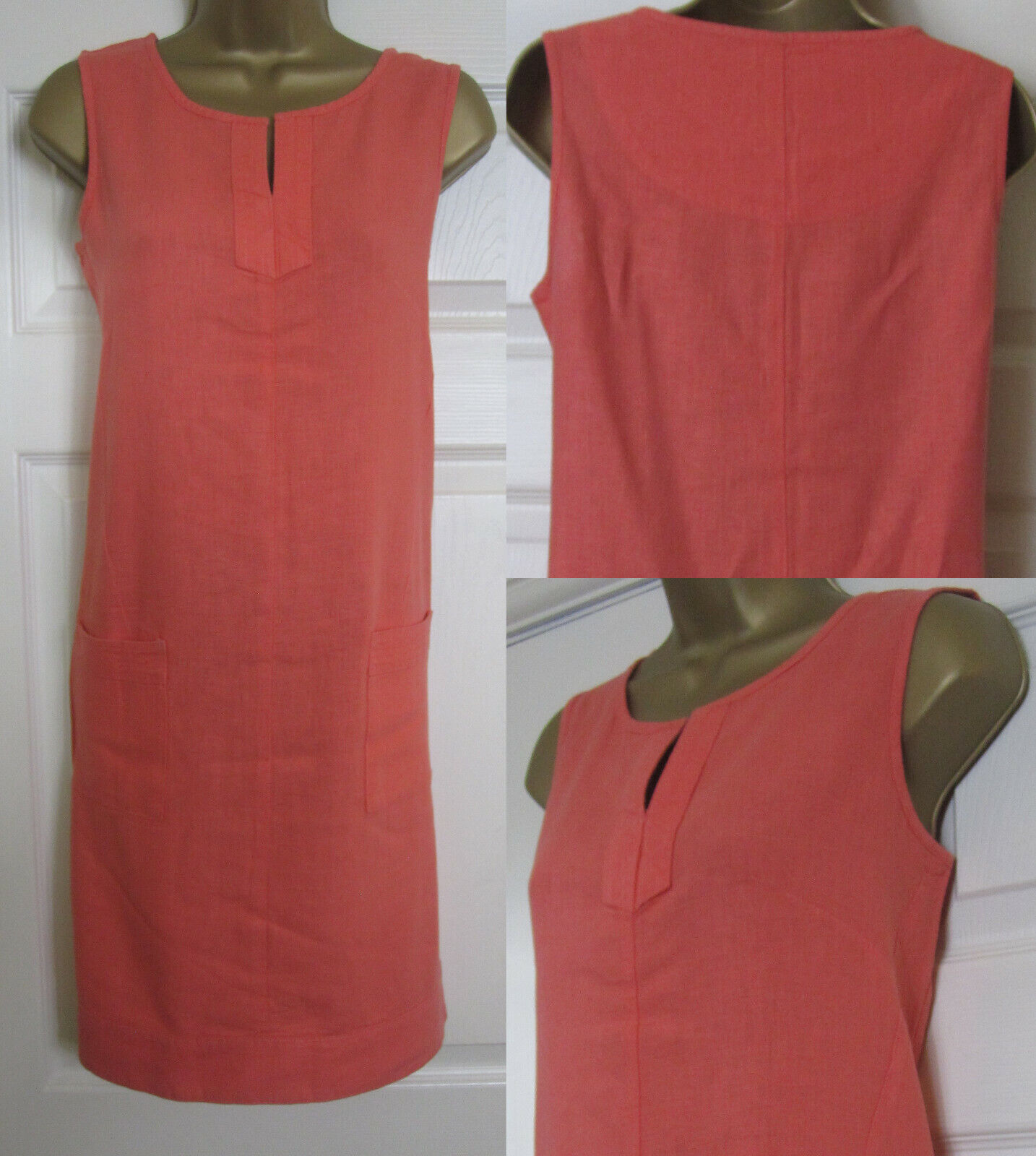 NEW Next Shift Tunic Dress Linen Blend Sleeveless Summer Sun Coral Orange 6-22