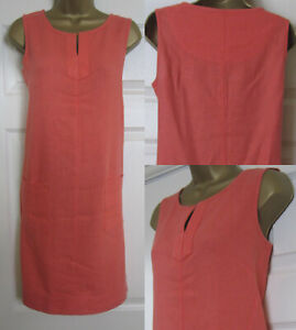 NEW-Next-Shift-Tunic-Dress-Linen-Blend-Sleeveless-Summer-Sun-Coral-Orange-6-22