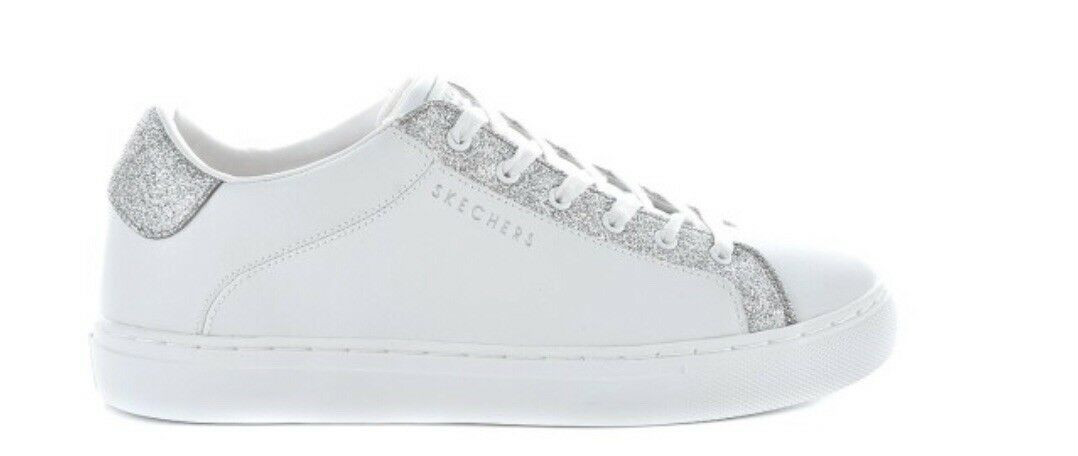 Skechers Womens Side Street- Bling White Lace Up Trainers Size 3