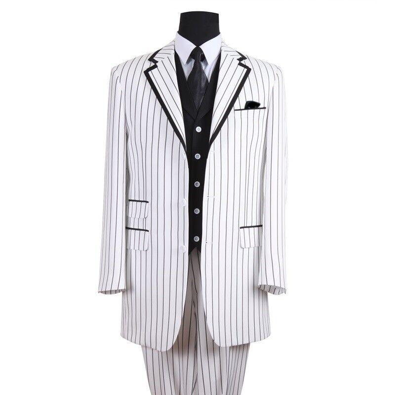 Men's 3 Piece Elegant Long Three Button Striped Suit w/ Solid Vest