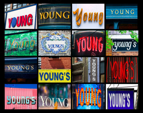 YOUNG Name Poster featuring photos of actual signs