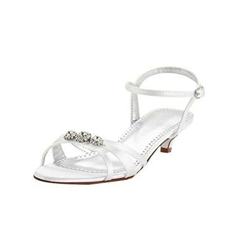 Elena Dyeable Satin Low Heel Sandal with Rhinestones- David's Bridal, Size 11