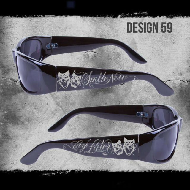 8172a7c73a8 Smile Now Cry Later City Locs Sunglasses Black Choppers Chicano Rap Shades