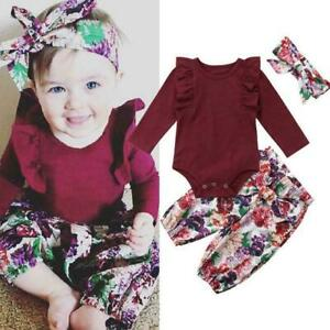 Newborn-Baby-Girl-Romper-Tops-Jumpsuit-Floral-Pants-Set-Headband-Favor-Outf-T6F1