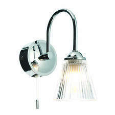 Modern Chrome and Ribbed Glass IP44 Bathroom Wall Light With Pull Cord Switch