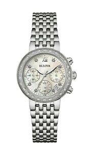 Bulova-Women-039-s-Quartz-Diamond-Accents-Silver-Tone-Bracelet-34mm-Watch-96R204