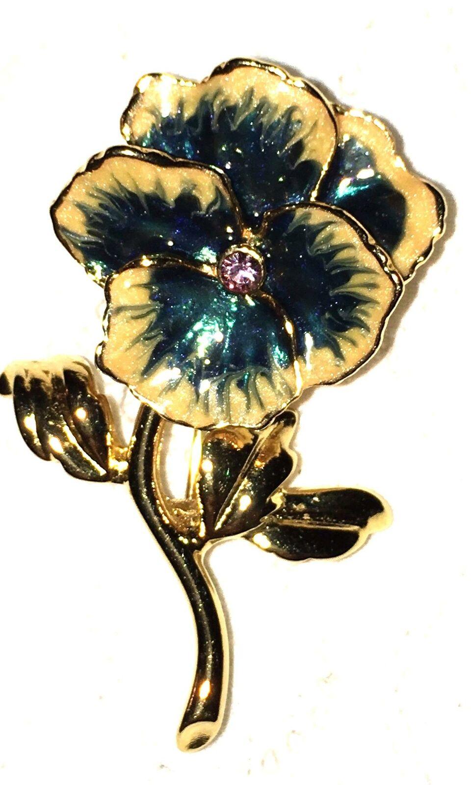Vtg Pansy Brooch Enamel Flower Crystal Blue White… - image 6