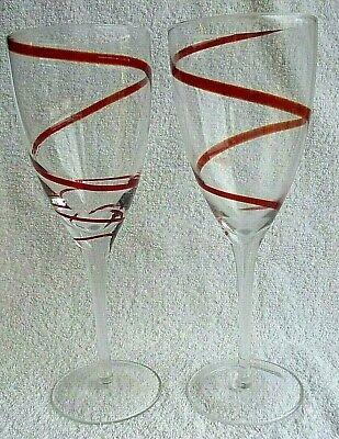 SWIRL RED Wine Glasses Lead Crystal