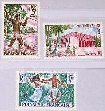 FRENCH POLYNESIA POLYNESIEN 1960 16-18 193-95 Spear Fishing Dancers Tänzer MNH