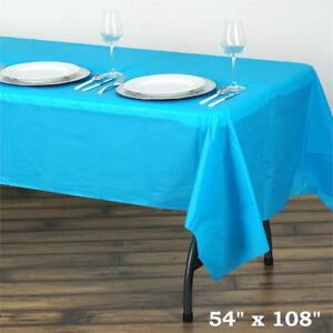 Turquoise Rectangle 54x108 Disposable Plastic Table Cover