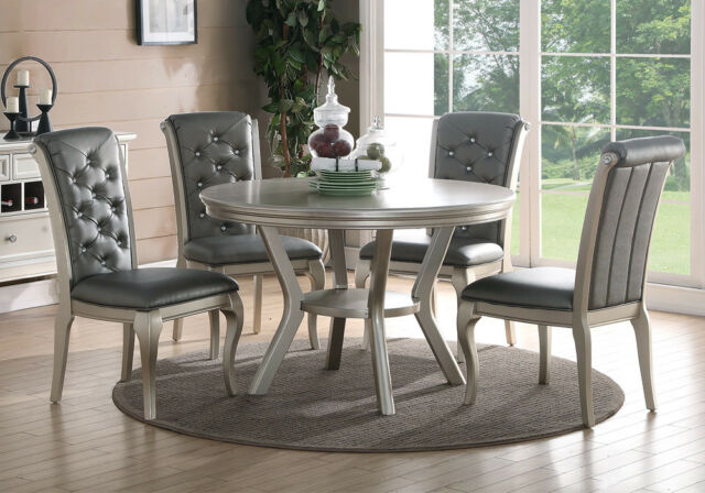 Elegant 5 Pcs Dining Set Round Table Tufted Crystal Button Chair Back  Silver PU