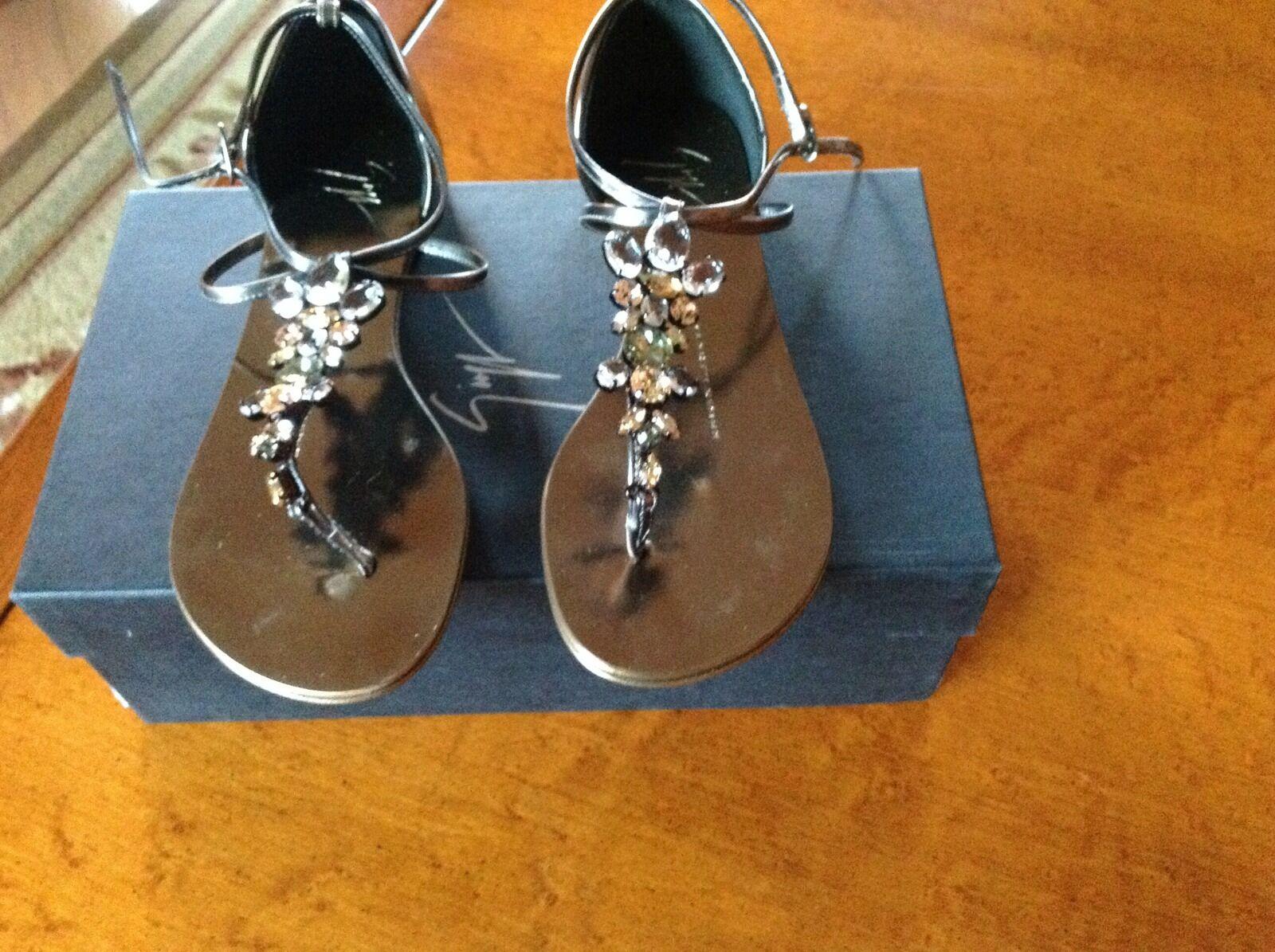 Giuseppe Zanotti Crystal Embellished Thong Strap Flat SandalSz 35.5