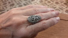 BRAND  NEW FILIGREE TIBETAN  SILVER RING  SIZE  L WITH GIFT BOX