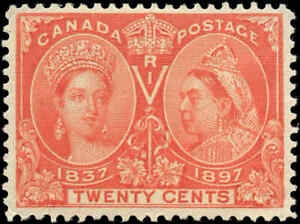 1897-Mint-H-Canada-F-VF-Scott-59-20c-Diamond-Jubilee-Stamp