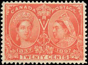 1897-Mint-Canada-Scott-59-20c-Diamond-Jubilee-Stamp-F-VF-Hinged