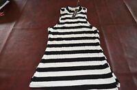 Monteau Brand Black & White Striped Top Tank Shirt Stretch Small Medium