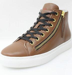 promo code 10b0a 5eb55 Details zu Hugo Boss Damen Sneakers High Top Leder Schuhe Braun Matt Gr 35  NEU