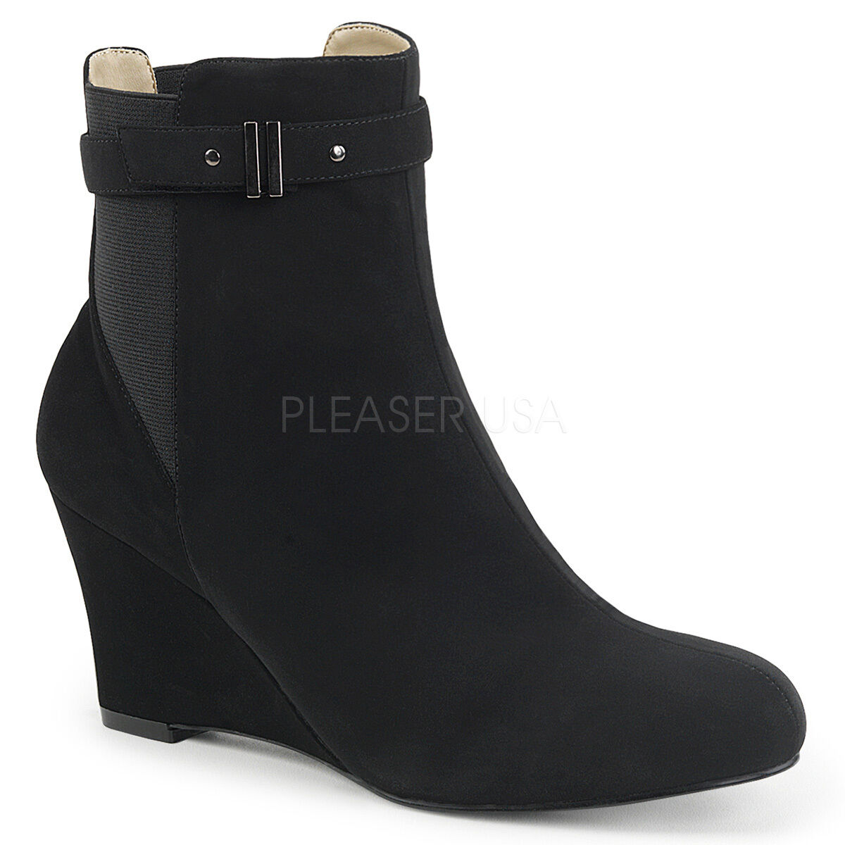 PLEASER PLEASER PLEASER 3  Wedge Heel Black Nubuck Suede Ankle High Boots Large Sizes f62749
