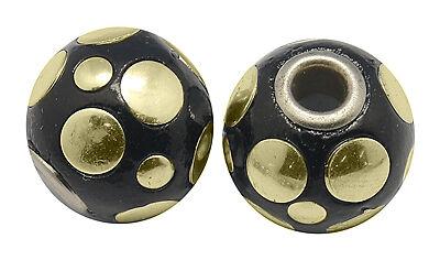 2 Kashmiri perlas genial decorada tonperle negro bala 15mm indischeperlen r180