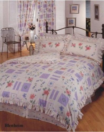 SINGLE BED BLENHEIM FRILLED DUVET COVER SET FLORAL BOXES LILAC PINK BLUE GREEN