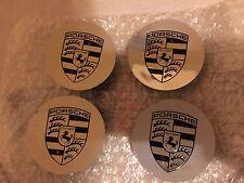 Set of 4 Genuine Original OEM Factory Porsche Logo Wheel CENTER CAPs - Polished!