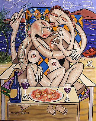 LOVE ON A DESERTED ISLAND SHRIMP SCALLOPS LINGUINE PAINTING NUDE ANTHONY R FALBO
