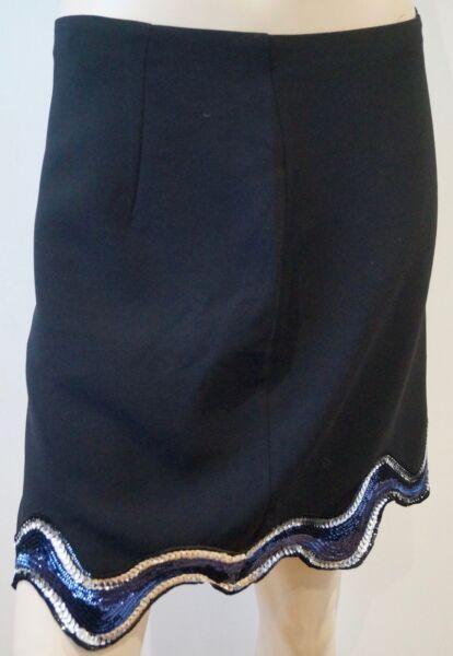 & Other Stories Black Navy & Silver Sequin Trim Lined Short Mini Skirt Eu40 Uk14 Style à La Mode;