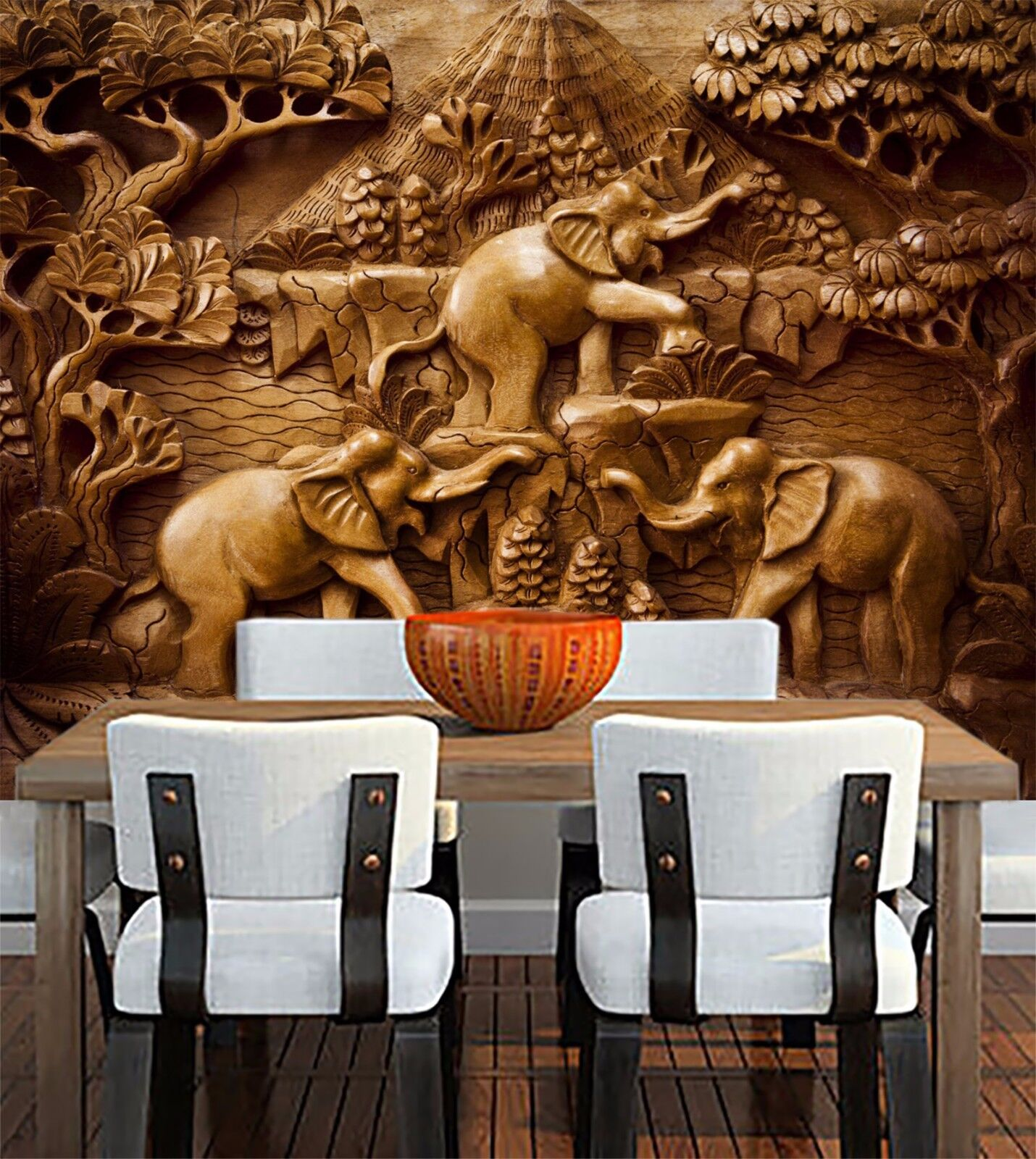 3D wood Sculpture Elephant Wall Paper Print Decal Wall Deco Indoor wall Mural