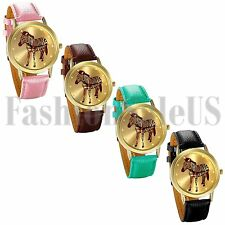 Nice Stunning Men's Women's Thin Zebra Leather Strap Quartz Analog Wrist Watch