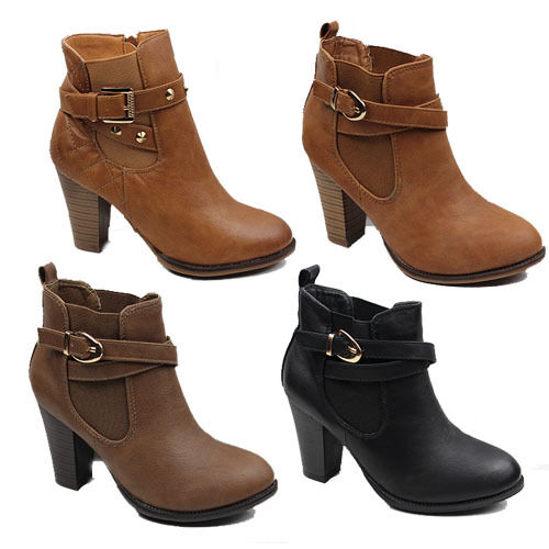 WOMENS CASUAL CHELSEA STYLE HIGH CUBAN HEEL ANKLE BOOTS LADIES SHOES NEW 3-8