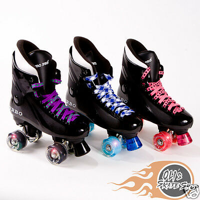 Light Up Wheels Disco Bauer Style Flashing Ventro Pro Turbo Quad Roller Skate