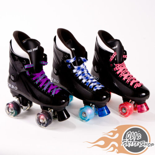 Flashing Ventro Pro Quad Roller Skate Turbo 33 Style Light Up Wheels Disco