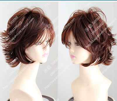 "Cos red brown short straight  cosplay Heat-Resistant women""s WIG +free wig cap"