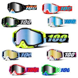 RACECRAFT-Motocross-Goggles-Silver-Gold-Blue-Mirror-Lens-Off-Road-100-percent
