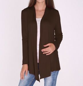Classic Coffee Brown Open Front Vest Tunic Top Draped Cardigan SML ...