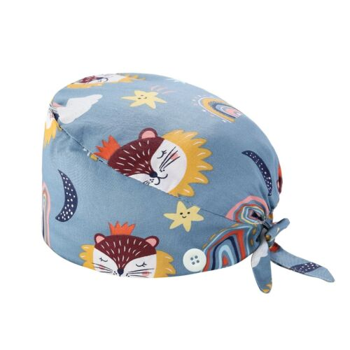 Surgical Scrub Cap Doctor Nurse Bouffant Hat Adjustable Head Cover With Buttons