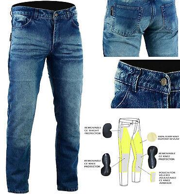 Mens Blue Denim Dupont 280GSM Kevlar Motorbike Jeans With CE Armour