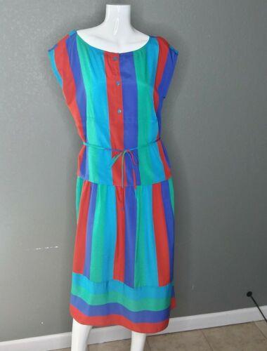 Vintage 70s Scott Barrie Multicolored Striped Dres
