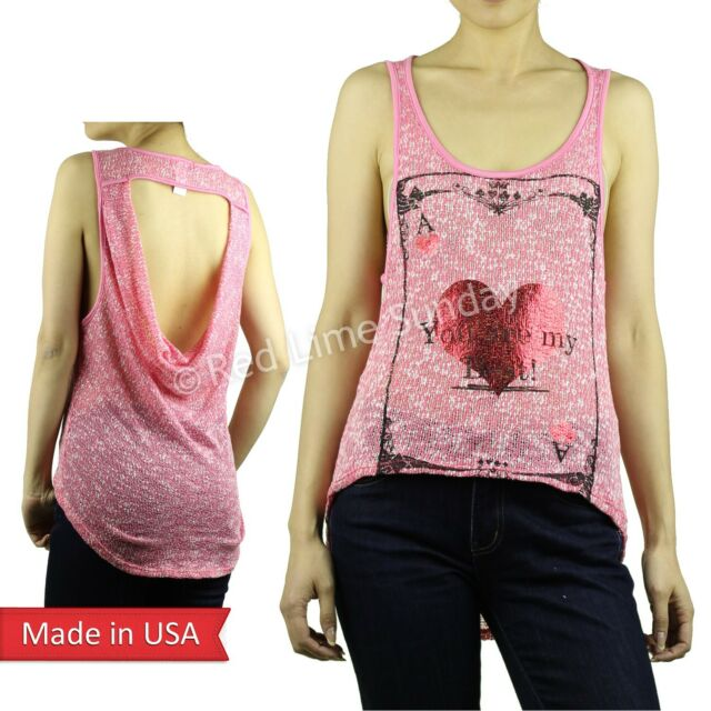 New Women Valentine Pink Knit Mesh Red Heart Foil Print High Low Tank Top Shirt