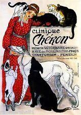 Clinique Cheron Dogs Vintage French Nouveau France Poster Print Advertisement