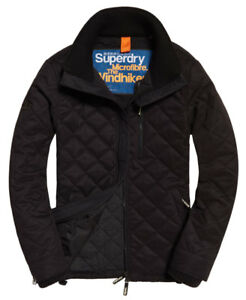 New Mens Superdry Microfibre Quilted Windhiker Jacket Black