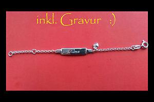 Silber-Armkette-Armband-fuer-Kinder-Babys-und-Saeuglinge-mit-Gravurplatte-SA101