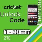 Unlock Code ZTE CRICKET Fanfare 2 Z815 Sonata 3 Z832 Z755 Z740g Z813 Z987 Z959