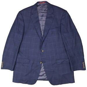 Hart-Schaffner-Marx-Sport-Coat-46L-Blue-Windowpane-Checked-Mens-Size-Long-Check