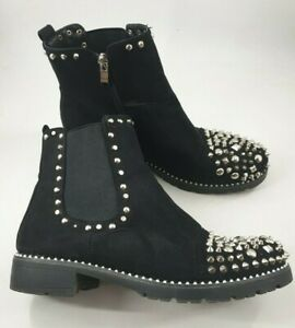 Size-8-41-black-faux-suede-side-zip-studded-block-heel-Chelsea-ankle-boots