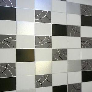 Debona Dotty Tile Pattern Kitchen Bathroom Wallpaper Black//Sliver /& White 2670