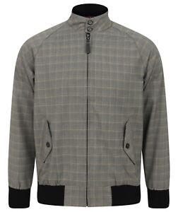 Mens Trojan Classic Check Lined Harrington Jacket TR 8200 Stone Silver