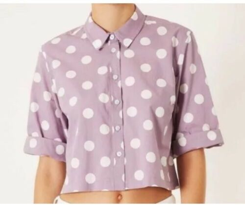 Top Shop Lilac Spot Top Blouse Cropped Top Shirt With £29 Size 12