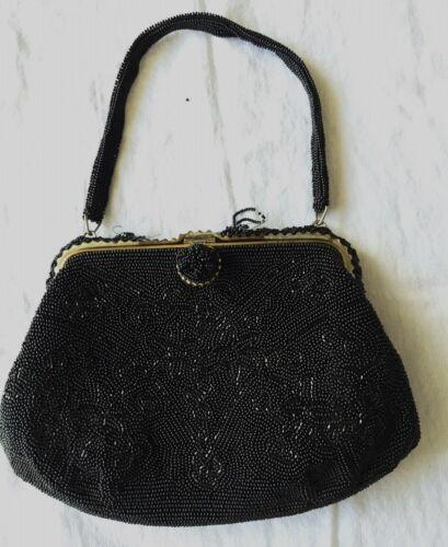 Vintage 50's Beaded Black Evening Bag